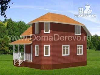 Фото 2: проект дом из бруса 8 на 8, с террасой