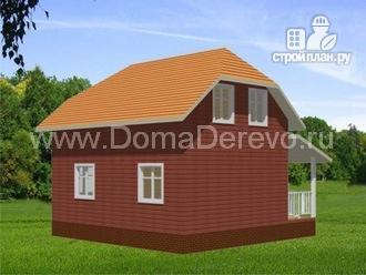 Фото 4: проект дом из бруса 8 на 8, с террасой