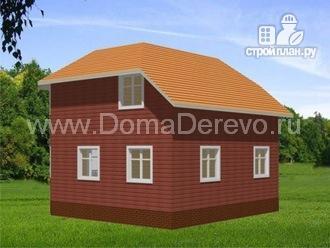 Фото 3: проект дом из бруса 8 на 8, с террасой