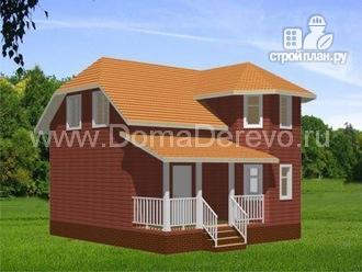 Фото: проект дом из бруса 8 на 8, с террасой