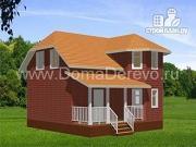 Проект дом из бруса 8 на 8, с террасой