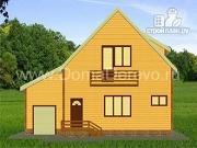 Проект дом из бруса 10 на 11, с балконом и гаражом