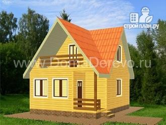 Фото: проект дом из бруса 6 на 8, с балконом и верандой