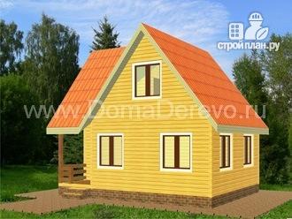 Фото 2: проект дом из бруса 6 на 8, с балконом и верандой