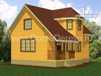 Фото: проект дом из бруса 6 на 9, с крыльцом