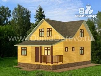 Фото: проект дом из бруса 7 на 10.5, с верандой и террасой