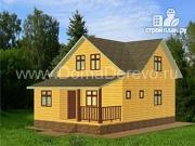 Фото: дом из бруса 7 на 10.5, с верандой и террасой