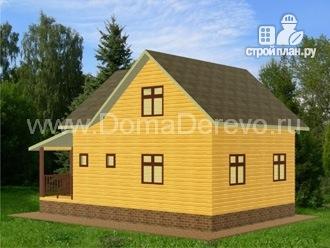 Фото 2: проект дом из бруса 7 на 10.5, с верандой и террасой