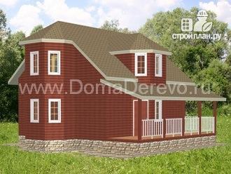 Фото: проект дом из бруса 9 на 10.5, с террасой