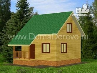 Фото: проект дом из бруса 6 на 6, с крыльцом