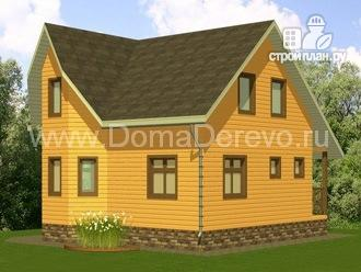 Фото: проект дом из бруса 7 на 8, с крыльцом