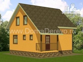 Фото 2: проект дом из бруса 7 на 8, с крыльцом