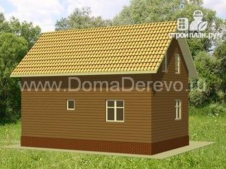 Фото 3: проект дом из бруса 6 на 9, с угловой террасой