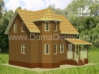 Фото 4: проект дом из бруса 6 на 9, с угловой террасой