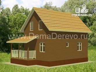 Фото 2: проект дом из бруса 6 на 9, с угловой террасой