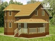 Проект дом из бруса 6 на 9, с угловой террасой