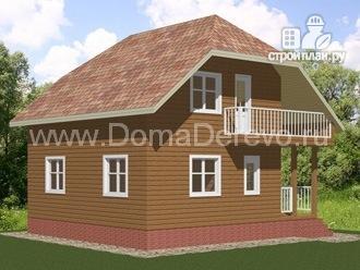 Фото 4: проект дом из бруса 7.5 на 7.5, с балконом
