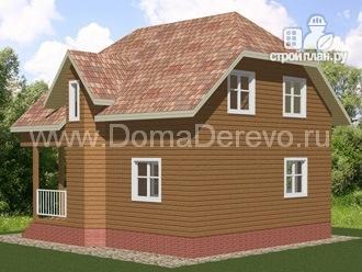 Фото 2: проект дом из бруса 7.5 на 7.5, с балконом