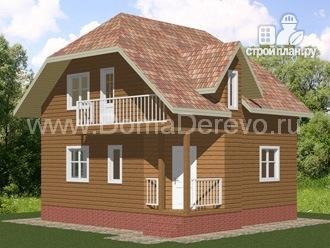 Фото: проект дом из бруса 7.5 на 7.5, с балконом