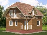 Проект дом из бруса 7.5 на 7.5, с балконом