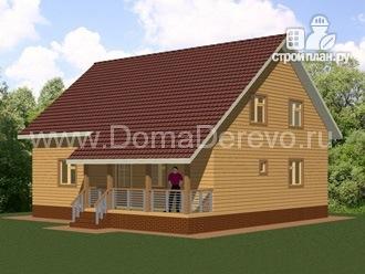 Фото 2: проект дом из бруса 9 на 11, с террасой и парной