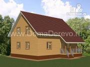 Проект дом из бруса 9 на 11, с террасой и парной
