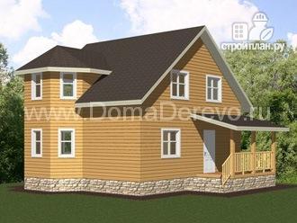 Фото: проект дом из бруса 7 на 8, с террасой