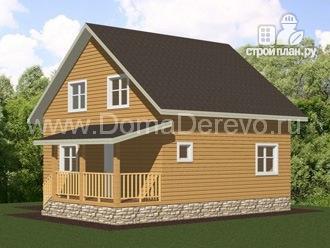 Фото 2: проект дом из бруса 7 на 8, с террасой