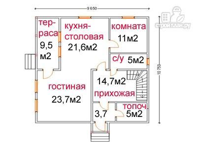 Фото 5: проект дом из бруса 9.5 на 10.5, с террасой