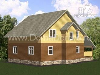 Фото 3: проект дом из бруса 9 на 12, с террасой
