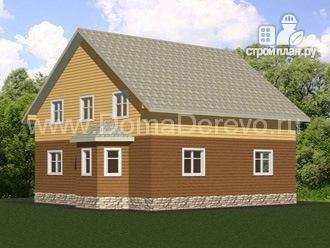Фото 2: проект дом из бруса 9 на 12, с террасой