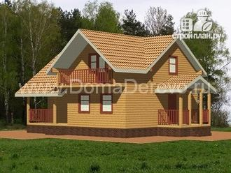 Фото: проект дом из бруса 8 на 10, с террасой и балконом
