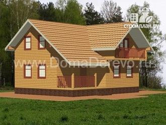 Фото 4: проект дом из бруса 8 на 10, с террасой и балконом