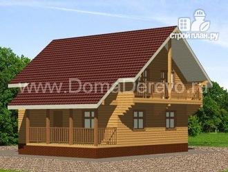 Фото: проект дом из бруса 9 на 10, с террасой и балконом
