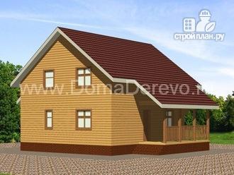 Фото 3: проект дом из бруса 9 на 10, с террасой и балконом