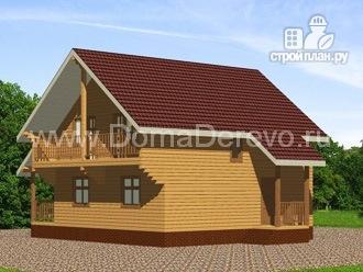 Фото 2: проект дом из бруса 9 на 10, с террасой и балконом