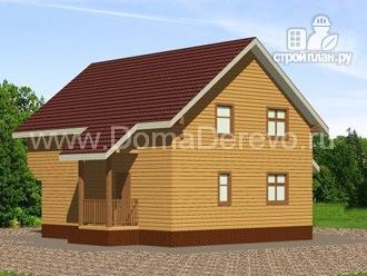 Фото 4: проект дом из бруса 9 на 10, с террасой и балконом