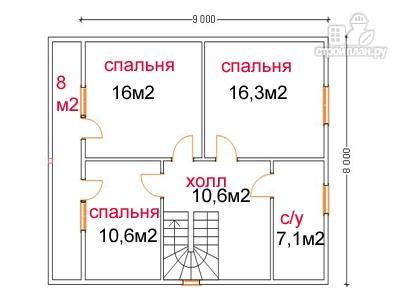 Фото 6: проект дом из бруса 9 на 10, с террасой и балконом