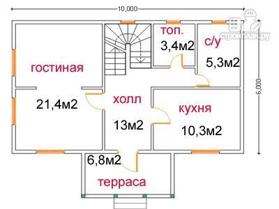 Фото 5: проект дом из бруса 6 на 10, с крыльцом