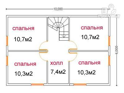 Фото 6: проект дом из бруса 6 на 10, с крыльцом