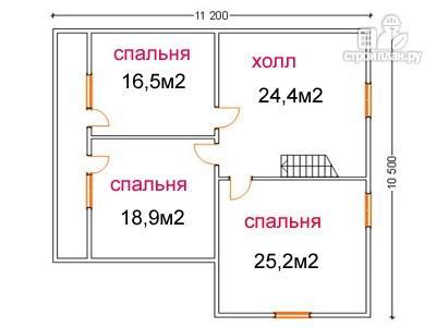 Фото 6: проект брусовой дом 10 на 10.5, с террасой и балконом