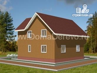 Фото 3: проект брусовой дом 10 на 10.5, с террасой и балконом