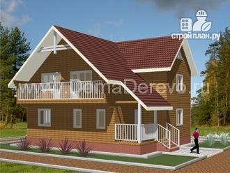 Фото: проект брусовой дом 10 на 10.5, с террасой и балконом