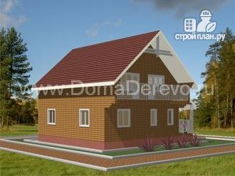 Фото 4: проект брусовой дом 10 на 10.5, с террасой и балконом