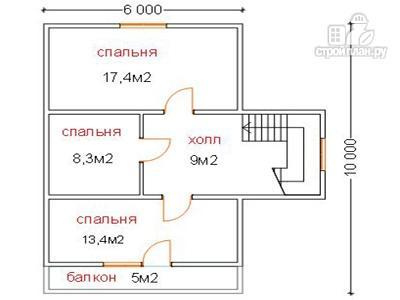 Фото 6: проект брусовой дом 8.5 на 9, с крыльцом и балконом
