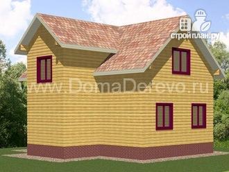 Фото 2: проект брусовой дом 8.5 на 9, с крыльцом и балконом