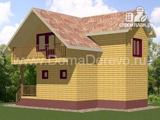 Фото: проект брусовой дом 8.5 на 9, с крыльцом и балконом