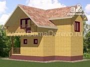 Проект брусовой дом 8.5 на 9, с крыльцом и балконом