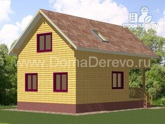 Фото 3: проект брусовой дом 8.5 на 9, с крыльцом и балконом