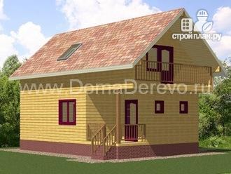 Фото 4: проект брусовой дом 8.5 на 9, с крыльцом и балконом